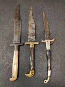 Antique Iron Brass Horn Handle Hunting Dagger Knife Knives Pesh Kabz Sword Steel