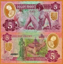 Bohemia, 5 Korun, Private Issue Essay, 2020 Nude Allegory, Clear Window Polymer