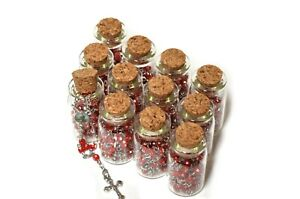 Rosary in Glass Jar Bottle Beads-Pearl-Catholic Crucifix Necklace. Saint Jude.