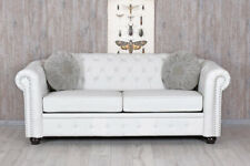 Chesterfield Sofa Weiss Clubsofa Couch Eco-Leder englisches Sofa Sitzbank 200cm
