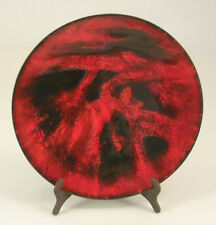 Red and Black Enamel Over Copper Dish 7-3/4 Inches across by 7/8 Inch Tall
