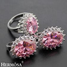 Pink Kunzite Topaz Sterling Silver PROM Jewelry Sets AAA Earrings,Ring Size 7.5