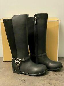 Michael Kors Emma Riding Boot Girls Youth 5/Womens 6.5/7 MK Logo Black Silver