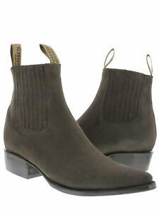 Mens Dark Brown Nubuck Leather Western Ankle Cowboy Boots Casual Botines Vaquero