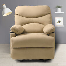 Massage Recliner with Heat and Beige Microfiber Vibrating Lounge Sofa W/Control