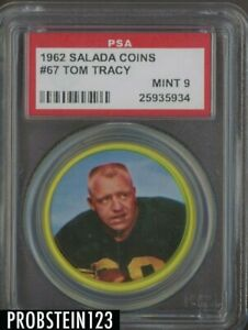 1962 Salada Coins Football #67 Tom Tracy Pittsburgh Steelers PSA 9 MINT