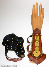 Steampunk Gauntlets Wrist Guards Faux Leather Gromited Bracers With Straps