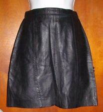 VINTAGE 1980s Black leather skirt with side laces women's size S Small