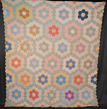 "VINTAGE QUILT GRANDMOTHER'S FLOWER GARDEN QUILT 1940's TIED 84"" x 75"""