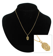 """Ky & Co Gold Tone Miniature Police Shield Badge Charm 16mm  + Necklace 16"""" USA"""