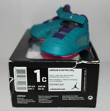 Air Jordan V 5 Tropical Teal Black Purple Sneakers Toddler's GP Size 1 1C New