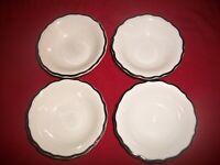 Lot of 4 VTG SYRACUSE CHINA Berry Bowls White/Black Trim~RESTAURANT WARE