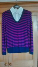 M&S Ladies White Shirt and Blue & Pink Striped V Neck Cotton Jumper, size 14