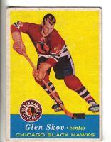 1957-58 Topps Hockey Card #30 Glen Skov Chicago Black Hawks VG/EX.