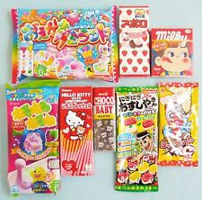 8 PCS Japanese Candy Kit Hello Kitty Kracie Meiji Fujiya Poppin Cookin Gummy Set