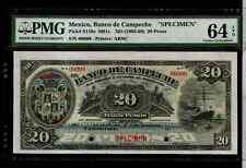 MEXICO 1903 20 pesos  BANCO DE CAMPECHE  PMG 64 SPECIMEN BANKNOT #MA-BN-72