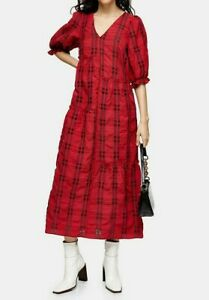 TOPSHOP SOLD OUT Spring/Summer Red & Black Seersucker Check Midi Dress Size 6/8