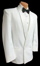 Boy's White Tuxedo Jacket Double Breasted Satin Shawl Lapels Wedding Ringbearer