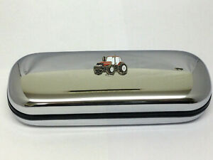 Red Tractor Glasses Case Enamel/Chrome Case International Farming Gift inc cloth