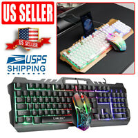 Wired Gaming Keyboard and Mouse Combo mechanical keyboard Feel Led Light Backlig