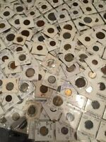 Coin Collection Lots - 2x2 + Loose - 50+ coins per lot - 100+ Year Old & UNC