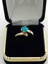 1ct Round Cut Turquoise Solitaire Engagement Ring in Real Solid 14k Yellow Gold