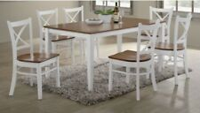 Timber Dining Set, Crossback 7 piece Dining Set. White and Antique Oak