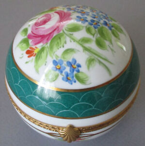 """Vintage French LIMOGES Porcelain HP BALL Shape 4"""" Trinket Box Flower Swags Bows"""