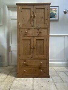 Late 20th Century Pine  Rustic Larder Cupboard Hall Linen Storage Cabinet