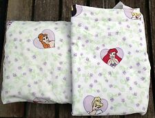 Twin Flat Fitted Bed Sheets Princesses Disney Cinderella Purple Flowers Cutter
