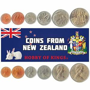 SET OF 6 COINS FROM NEW ZEALAND: 1, 2, 5, 10, 20, 50 CENTS. OCEANIA: 1967-1985