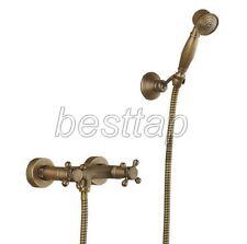 Antique Brass Wall Mounted Bathroom Hand Held Shower Head Faucet Set srs016