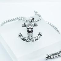 Collier pendentif titane crâne ancre satanique 666 punk rock métal chaîne 55cm