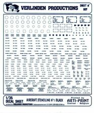 Verlinden Productions 1:35 Aircraft Stenciling No.1 Black Decal Sheet #167