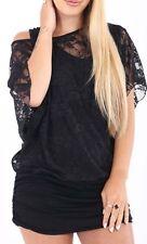 Women Lace Vest Insert Batwing Ladies Baggy T-Shirt Loose Dress Top Uk 8 -XXXL