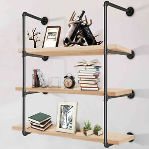 2x 4-Tier Industrial Iron Pipe Wall Shelf Shelving DIY Bookshelf Bracket Storage