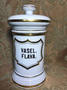 """Antique 1800's Apothecary French Old PARIS Porcelain Jar Label """"VASEL. FLAVA"""""""
