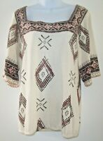 Lucky Brand Boho Ivory Aztec Style Top/Blouse Women Size L Square Neckline