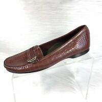 Cole Haan Women's Brown Leather Croc Print Moc Loafers Slip On Driving Shoes 9 B