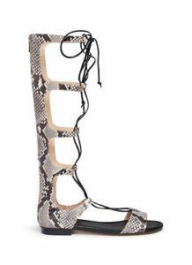 NWT Michael Kors Sofia Leather Gladiator Runway Python Embossed Sandal Boots