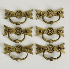 Set Of Six 1881 Antique Brass Drawer Pull Handles Arts & Crafts Stamped C&A