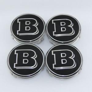 4x 75MM Mercedes Benz Wheel Center Caps Emblem Black BRABUS Badge Logo Hubcaps