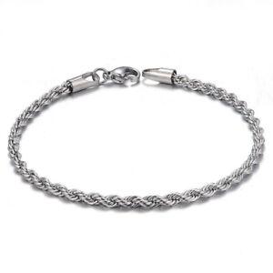 Mens Women Silver Twist Stainless Steel Bracelet Cuff Bangle Chain Link Jewelry