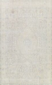 Muted Semi-Antique Hand-knotted Distressed Tebriz Area Rug Evenly Low Pile 10x13