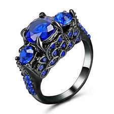 Size 6 Womens Blue Sapphire 18K black Gold Filled Engagement Wedding Gift Ring