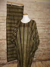 Brown Stripe Kaftan Traditional Ethnic Clothing Women Suit African 2 PC Dress