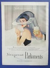 1955 Parliaments Cigarettes Mr. John Hat Elegant Woman Photo Vintage Print Ad