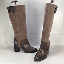 Calvin Klein Grey Suede/Leather Buckle Tall Heeled Boots Women's sz 8