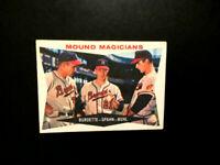 1960 Topps Baseball Card # 230 Mound Magicians - Burdette / Spahn / Buhl-VGEX