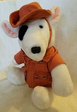 Vintage 1987 Dakin Bull Terrier in Safari Outfit Plush Stuffed Animal 12""